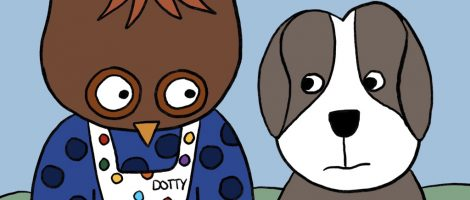 Cartoon Image of Dotty the Owl and Dave the dog and Dave the Dog from Coronavirus book