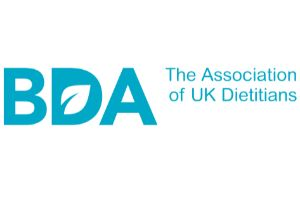 BDA letters with words The Association of UK Dietitians blue lettering on white background make up this logo
