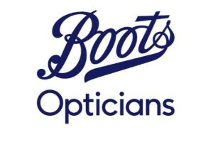 Boots Opticians blue letters on white background makes up this logo