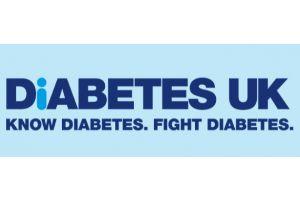 Diabetes UK blue words on lighter blue background makes up the logo