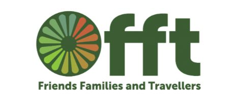 Friends Families and Travellers in green words with circle divided into green pie shapes on white background makes up this logo