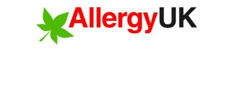 green stylised leaf and woords allergy UK make up the logo