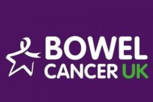 Bowel Cancer Uk logo in white on purple background