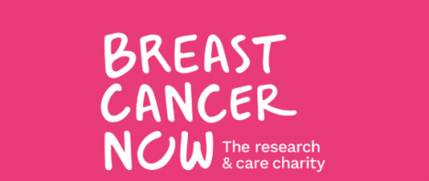 Breast Cancer Now words in white on a pink background makes up this logo.