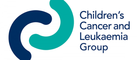 childrens cancer and leukaemia group logo in words with two stylised colour crescents