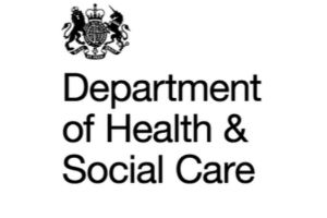 The crown with Department of Health and Social Care in black words on white background make up this logo.