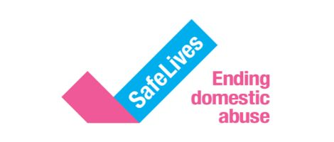 Safe Lives Ending domestic abuse in words on white background makes up this logo