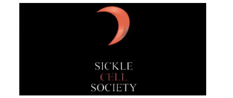 sickle cell society words with red crescent shape on black background make up the logo