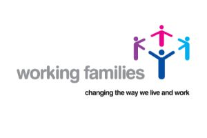 four stick figures with working families as words make up the logo