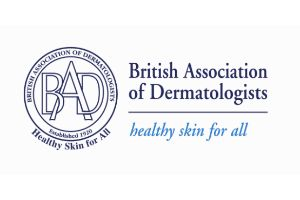 British Association of Dermatologists Healthy Skin for all in blue letters on white background make up this image