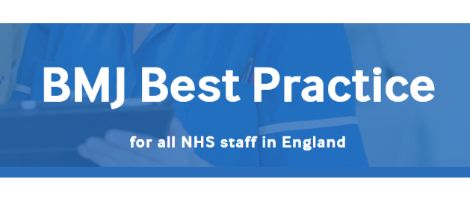 BMJ Best practice in white words on blue background