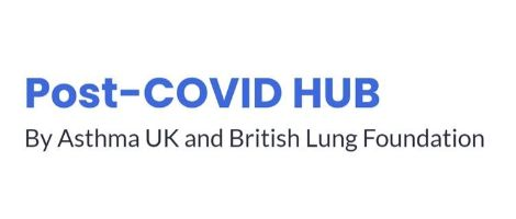 post covid hub in blue letters on whote background make this logo