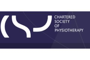 words chartered society of physiotherapy on purple background make up logo
