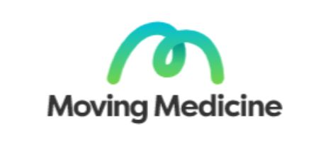 green letter M with words moving medicine makes this logo