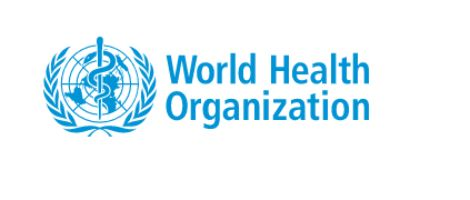 World Health Organisation in blue words on white background with WHO emblem make this logo