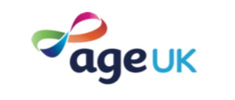 Age Uk in words with rainbow ribbon on white background makes this logo