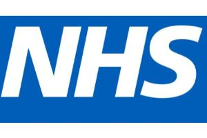 NHS in white letters on blue background