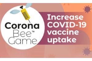 Image of a bee and words describing a coronavirus vaccine uptake encouragement